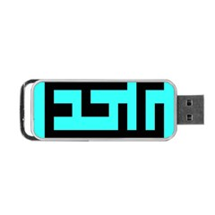 Black And Teal Portable Usb Flash (two Sides)