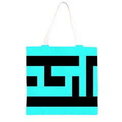 Black and Teal Grocery Light Tote Bag