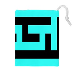 Black and Teal Drawstring Pouches (Extra Large)