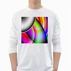 Psychedelic Design White Long Sleeve T Shirts