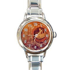 Vintage Ladies Artwork Orange Round Italian Charm Watch