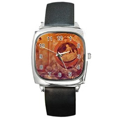 Vintage Ladies Artwork Orange Square Metal Watch