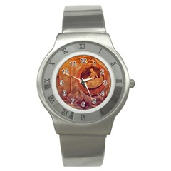 Vintage Ladies Artwork Orange Stainless Steel Watch