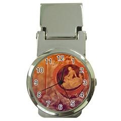 Vintage Ladies Artwork Orange Money Clip Watches