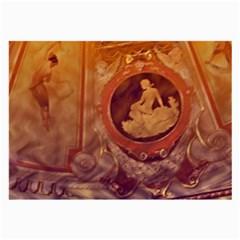 Vintage Ladies Artwork Orange Large Glasses Cloth (2-Side)