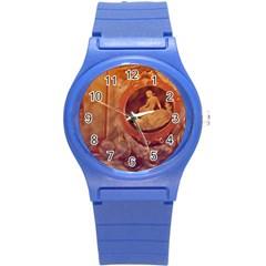 Vintage Ladies Artwork Orange Round Plastic Sport Watch (s)