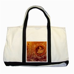 Vintage Ladies Artwork Orange Two Tone Tote Bag