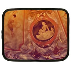 Vintage Ladies Artwork Orange Netbook Case (Large)