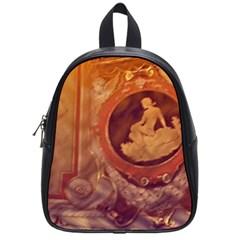 Vintage Ladies Artwork Orange School Bags (Small)