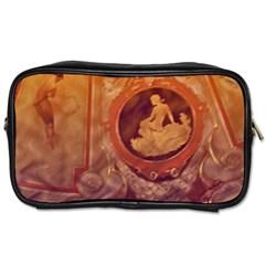 Vintage Ladies Artwork Orange Toiletries Bags