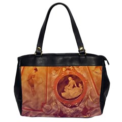 Vintage Ladies Artwork Orange Office Handbags (2 Sides)