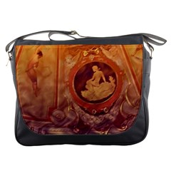Vintage Ladies Artwork Orange Messenger Bags