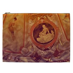 Vintage Ladies Artwork Orange Cosmetic Bag (xxl)