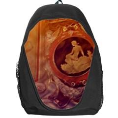 Vintage Ladies Artwork Orange Backpack Bag