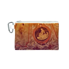 Vintage Ladies Artwork Orange Canvas Cosmetic Bag (S)