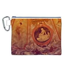 Vintage Ladies Artwork Orange Canvas Cosmetic Bag (l)