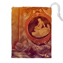 Vintage Ladies Artwork Orange Drawstring Pouches (XXL)