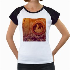 Vintage Ladies Artwork Orange Women s Cap Sleeve T