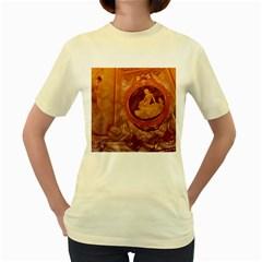 Vintage Ladies Artwork Orange Women s Yellow T Shirt