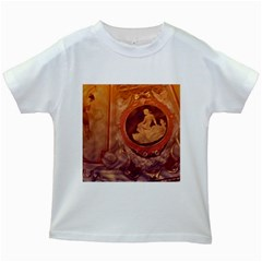 Vintage Ladies Artwork Orange Kids White T Shirts