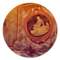 Vintage Ladies Artwork Orange Magnet 5  (round)