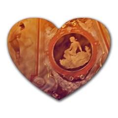 Vintage Ladies Artwork Orange Heart Mousepads