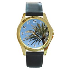 Tropical Palm Tree  Round Gold Metal Watch
