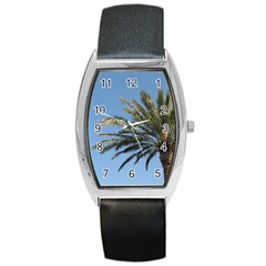 Tropical Palm Tree  Barrel Style Metal Watch