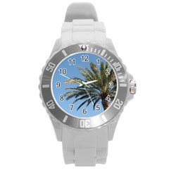 Tropical Palm Tree  Round Plastic Sport Watch (l)