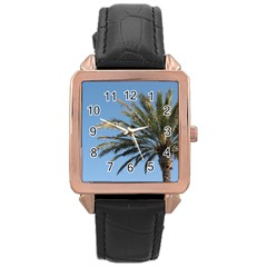 Tropical Palm Tree  Rose Gold Leather Watch