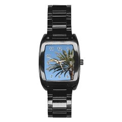 Tropical Palm Tree  Stainless Steel Barrel Watch