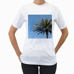 Tropical Palm Tree  Women s T Shirt (white) (two Sided)