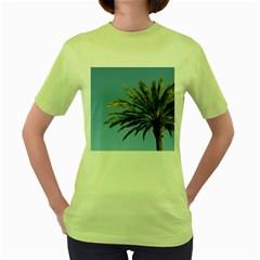 Tropical Palm Tree  Women s Green T Shirt