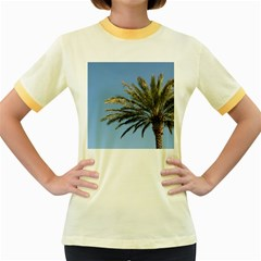 Tropical Palm Tree  Women s Fitted Ringer T Shirts