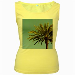 Tropical Palm Tree  Women s Yellow Tank Top