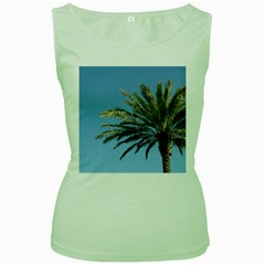 Tropical Palm Tree  Women s Green Tank Top