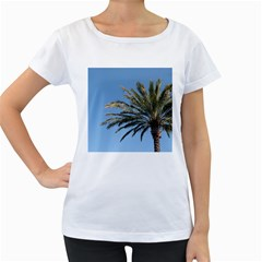 Tropical Palm Tree  Women s Loose-Fit T-Shirt (White)