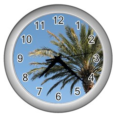 Tropical Palm Tree  Wall Clocks (silver)