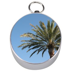 Tropical Palm Tree  Silver Compasses