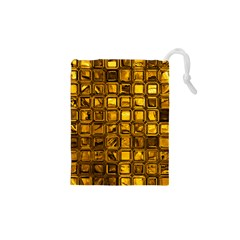 Glossy Tiles, Golden Drawstring Pouches (XS)