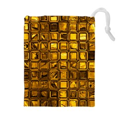 Glossy Tiles, Golden Drawstring Pouches (Extra Large)