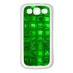 Glossy Tiles,green Samsung Galaxy S3 Back Case (white)