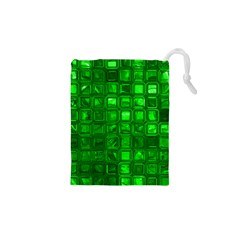 Glossy Tiles,green Drawstring Pouches (xs)