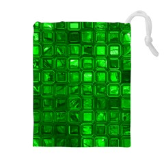 Glossy Tiles,green Drawstring Pouches (Extra Large)