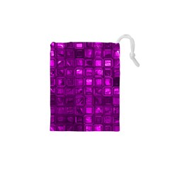 Glossy Tiles,purple Drawstring Pouches (XS)