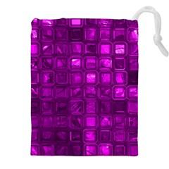 Glossy Tiles,purple Drawstring Pouches (XXL)