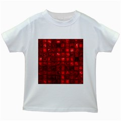 Glossy Tiles,red Kids White T Shirts