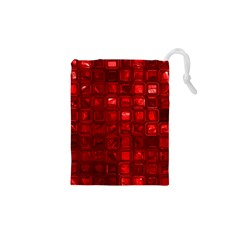 Glossy Tiles,red Drawstring Pouches (XS)
