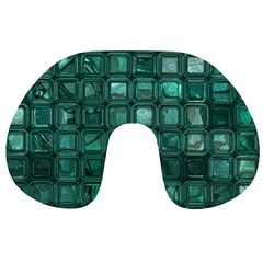Glossy Tiles,teal Travel Neck Pillows