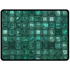 Glossy Tiles,teal Double Sided Fleece Blanket (large)